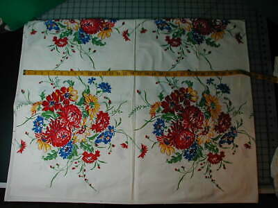 "Vintage Brightly Colored Tablecloth Floral 53"" x 66"""