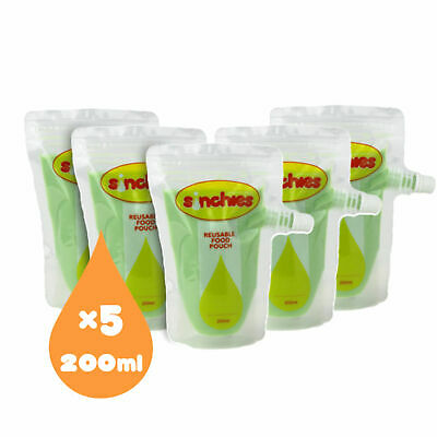 Sinchies 200ml Reusable Food Pouch - PACK OF 5. Yoghurt, baby food, custard