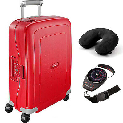 """Samsonite S'Cure 30"""" Zipperless Spinner Luggage Crimson Red + Scale and Pillow"""