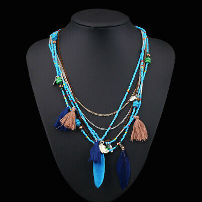 Fashion Lady Boho Multilayer Woven Long tassel Pendant Ethnic Statement Necklace