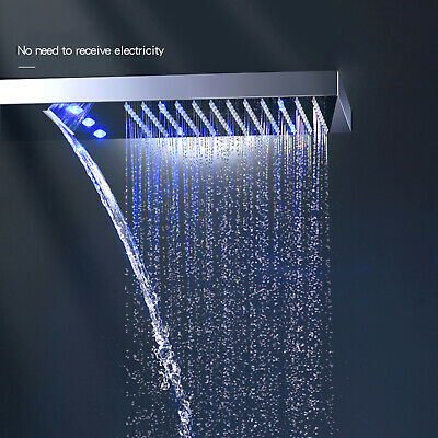 "LED 22"" Rain Waterfall Shower Head Chrome Brass Wall Mount Rectangular Sprayer"