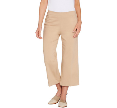 Kelly by Clinton Kelly Womens Pull-On Ponte Culotte Pants Sandstone Color Sz XS