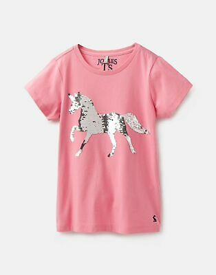 Joules Girls Astra Applique T Shirt 3 12 Years in PINK SEQUIN HORSE