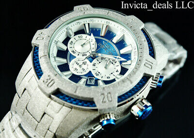 Invicta Men's 52mm Pro Diver Scuba Chronograph SANDBLASTED Silver/Blue SS Watch