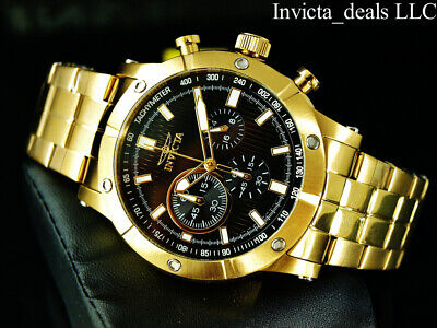 NEW Invicta Men's 47mm Specialty Chronograph 18K Gold Plated Black Dial SS Watch