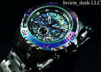 Invicta Mens 52mm Pro Diver Scuba Chrono COMBAT Black IRIDESCENT Abalone Watch