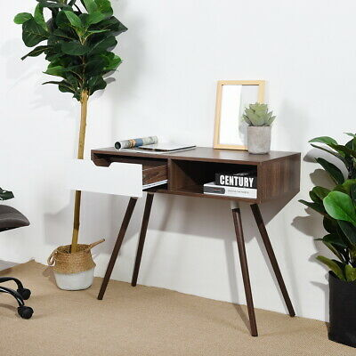 Console Table With Drawer Open Storage Shelf Wood Table Top Rectangle 75-76cm H