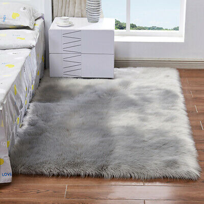Large Shaggy Fluffy Fur Floor Rug Plain Soft Area Mat Thick Pile Bedroom Rugs