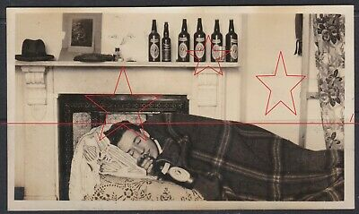 OLD PHOTO of Man asleep drunk with 7 Fosters Lager Beer bottles 1920's Australia