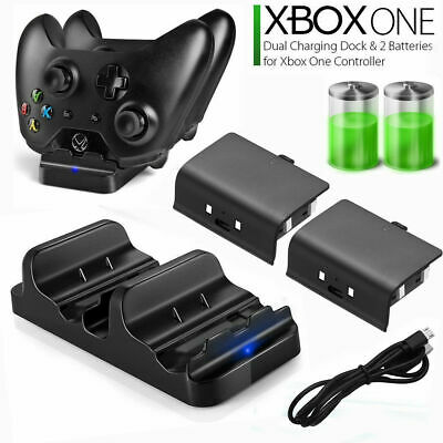 For Xbox One Controller Dual Charging Dock Station Charger +2 Extra Battery Pack