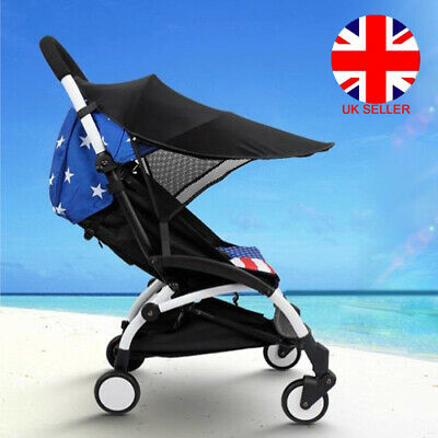 Universal Baby Pushchair Stroller Pram Buggy Black Sun Shade Canopy UV Cover UK