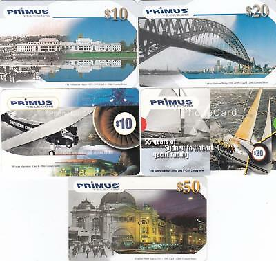 Primus 20Th Century Set Of 5  All Exp June 2001 To $50 Flinders St. Scarce H3