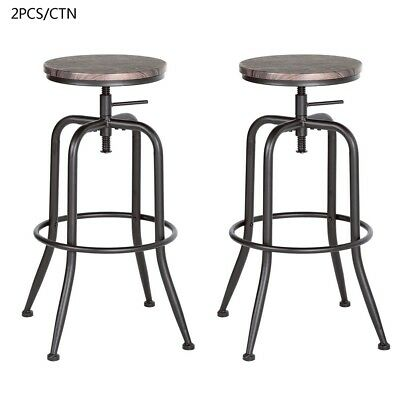 Industrial Vintage Wood Bar Stool Height Scroll Up With Leg Stopper Metal Leg