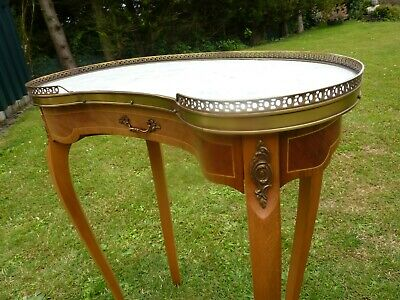 French Antique Style Kidney Shape Marble Top Table Brass Gallery Ormolu Mounts
