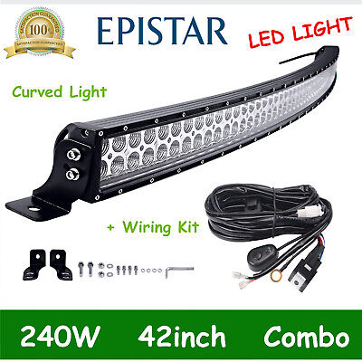 42IN 240W Curved CREE LED Light Bar Offroad Combo Driving Truck ATV+Wiring Kit