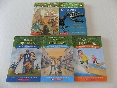 Lot of 5 Magic Tree House Books 10, 21, 24, 28 and Dinosaurs Research Guide #1