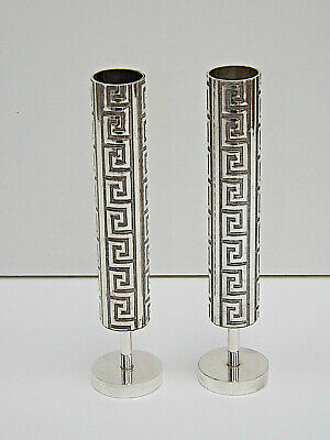Vintage 1960s Pair Of Silver Plated on Brass Bud Vases With Greek Key Design