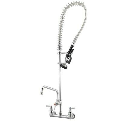"""12"""" Wall Mount Commercial Pre-Rinse Faucet Kitchen Pull Out Down Sink w/ Sprayer"""