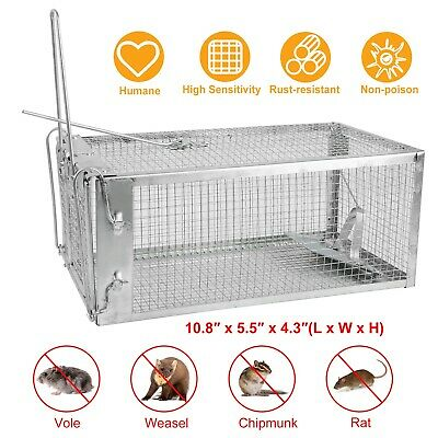 """Humane Small Live Animal Control Steel Trap Cage 10.8""""x5.5""""x4.3"""" Squirrels Mice"""