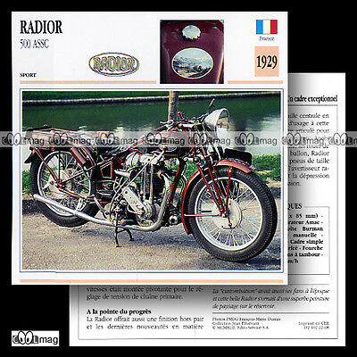 #022.08 RADIOR 500 ASSC 1929 Fiche Moto Classic 1920's Motorcycle Card