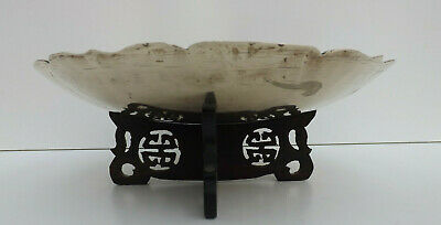 19th Century Chinese Qing Dynasty Enrgaved Brass Dish With Fretwork Stand