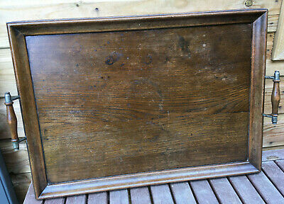 Antique Edwardian Large Butlers Oak Wood Gallery Salver Drinks Tray c1910