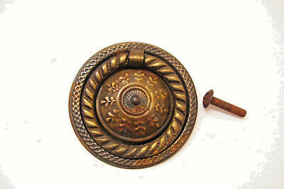 Vintage Hepplewhite Round Drop Ring Drawer Pull Circa 1940s Brass-plated