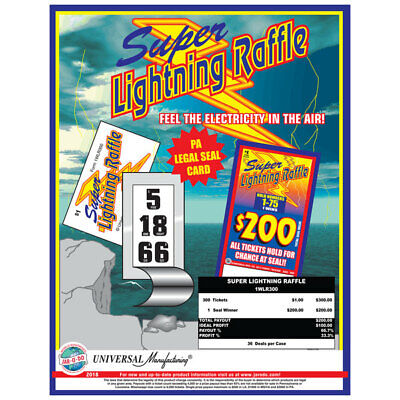 """""""Super Lighting"""" Pull Tabs 1 Window 300 Tickets Payout $200 Free Shipping USA"""