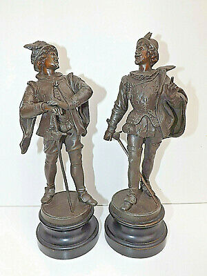 Antique Pair of Bronzed Spelter Figures - Sir Walter Raleigh & Sir Francis Drake