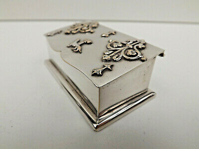 Antique German Silver Plated Stamp Box Dispenser With Crown & Dachshund Motif