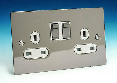 4 Pack Ultra Slim Modern switched plug socket Brushed Chrome 13A 2G Black Insert