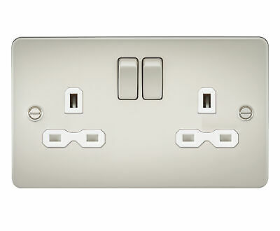 4 Pack Ultra Slim Modern switched plug socket Pearl Nickel 13A 2G White Insert