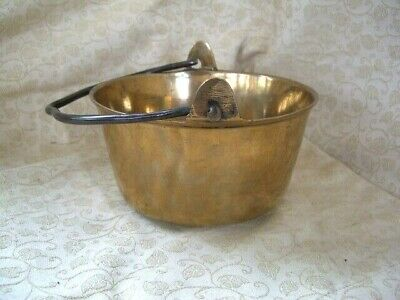 Vintage Small Brass Jam Kettle Cooking Pot bucket with handle black Antique