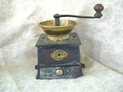 Antique Victorian A Kenrick & Sons Cast Iron & Brass Coffee Grinder, Coffee Mill