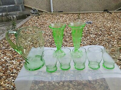 Vintage Green clear Glass Jug with  5 Matching Glasses / 2 dessert cups Art Deco