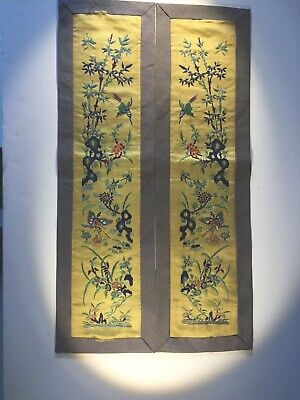 Two Antique Chinese Silk Embroidered Panels