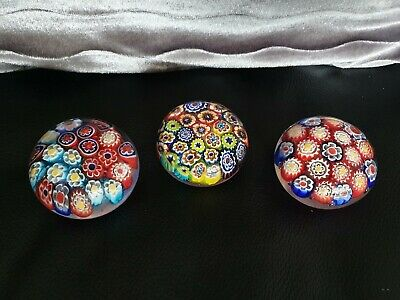 Three Lovely Early John Deacons Millefiori Glass Paperweights