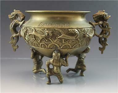 Chinese Bronze Urn or Open Incense Jar Censor w/ Dragon Handles