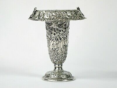 Barbour Silver Plate Vase, Antique Repousse People & Scenes Re-purposed Basket