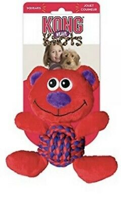 "KONG Dog Toy Weave Knots Squeaker Puppy Bear Medium 8"" Red Purple"