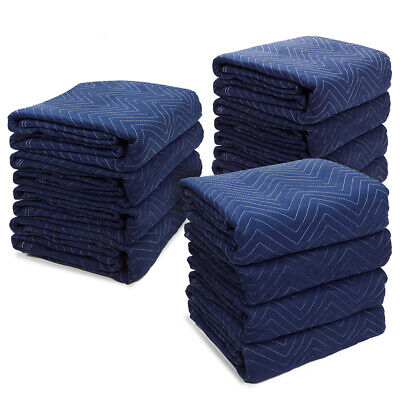 "Premium 12PC Moving Blankets (72 x 80"") Professional Mover Pads Quilted 45lbs"