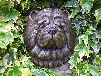 Large Bronzed Stone Chow Chow Dogs  Head Wall Sculpture