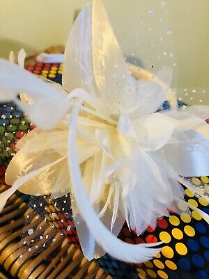 Ladies/girls Ivory  Fascinator With Beads & Feathers On Alice Band. Wedding