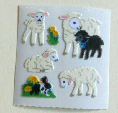 Sandylion FUZZY LAMB FAMILY & BUNNY - 1 Square Vintage Very Rare Stickers
