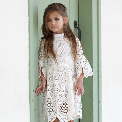 Autumn Kids Girls Children's Princess Casual Cute Flare Sleeve Hollowed Dress