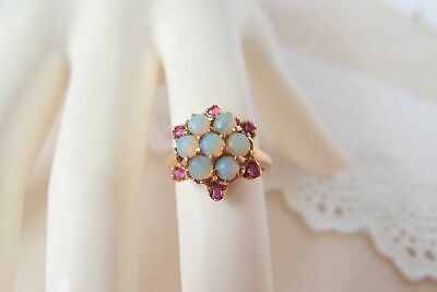 antique 10k Gold Opal Ruby cluster Ring Victorian Edwardian Snowflake Star 4.25