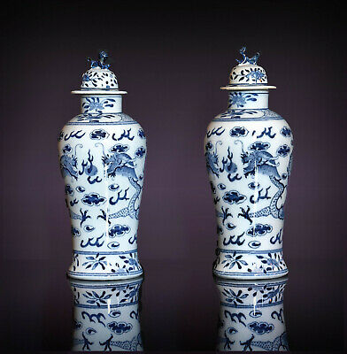 A Pair Of 20th C Chinese Blue & White Porcelain Dragon Design Lidded Vases. 30 H