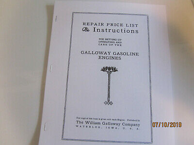 William Galloway Co 2 1/2HP- 15HP Gas Engine Instruction and Parts Manual