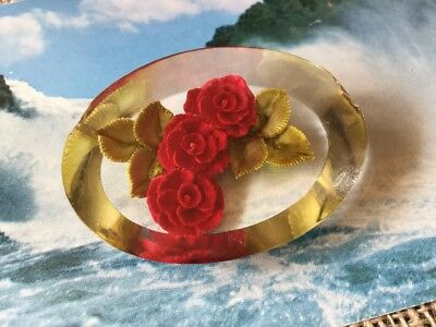 Antique Vintage old Red Flower Spray Reverse Carved Lucite Oval Brooch Pin