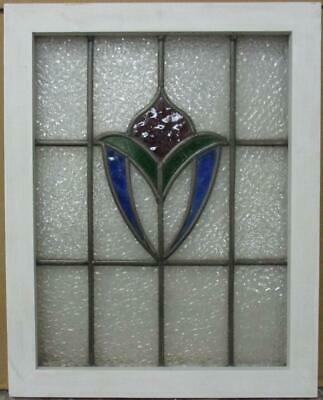"MIDSIZE OLD ENGLISH LEADED STAINED GLASS WINDOW Gorgeous Abstract 19.5"" x 24.5"""